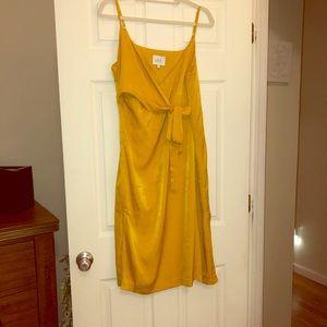 Yellow Satin front wrap cocktail dress